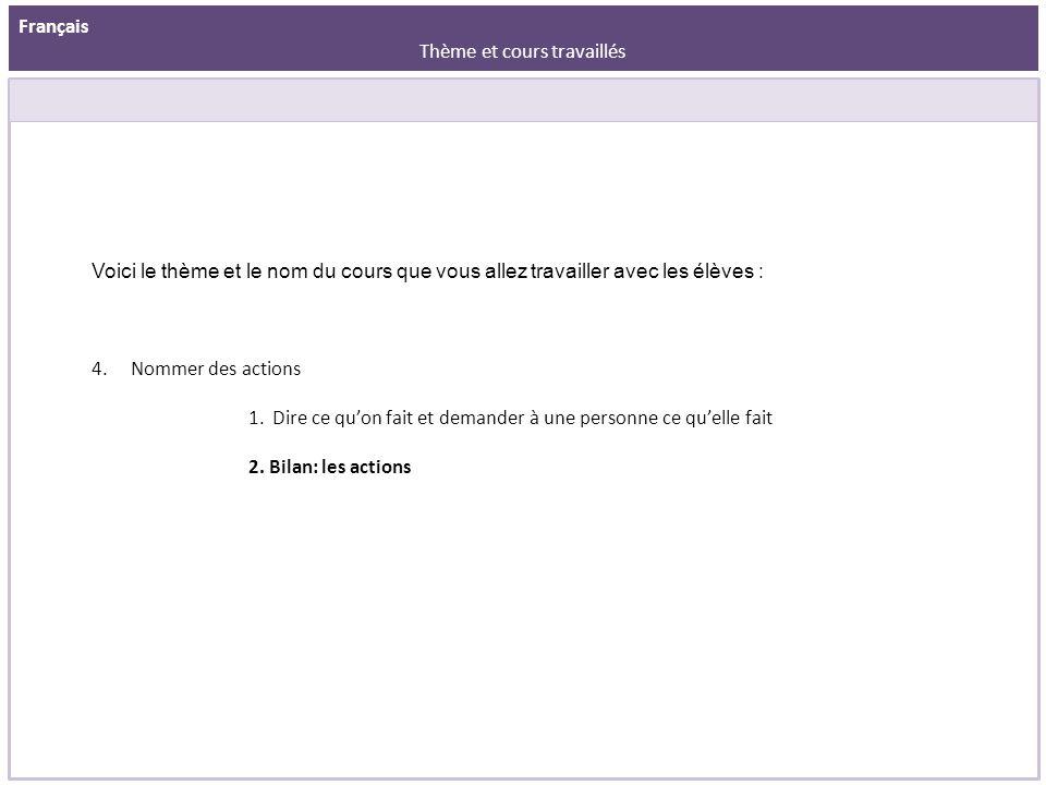 Français Thème et cours travaillés Voici le thème et le nom du cours que vous allez travailler avec les élèves : 4.Nommer des actions 1.