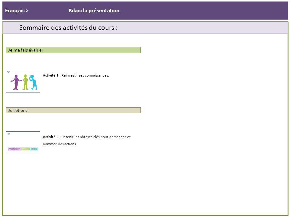 Français > Sommaire des activités du cours : Bilan: la présentation Activité 1 : Réinvestir ses connaissances.