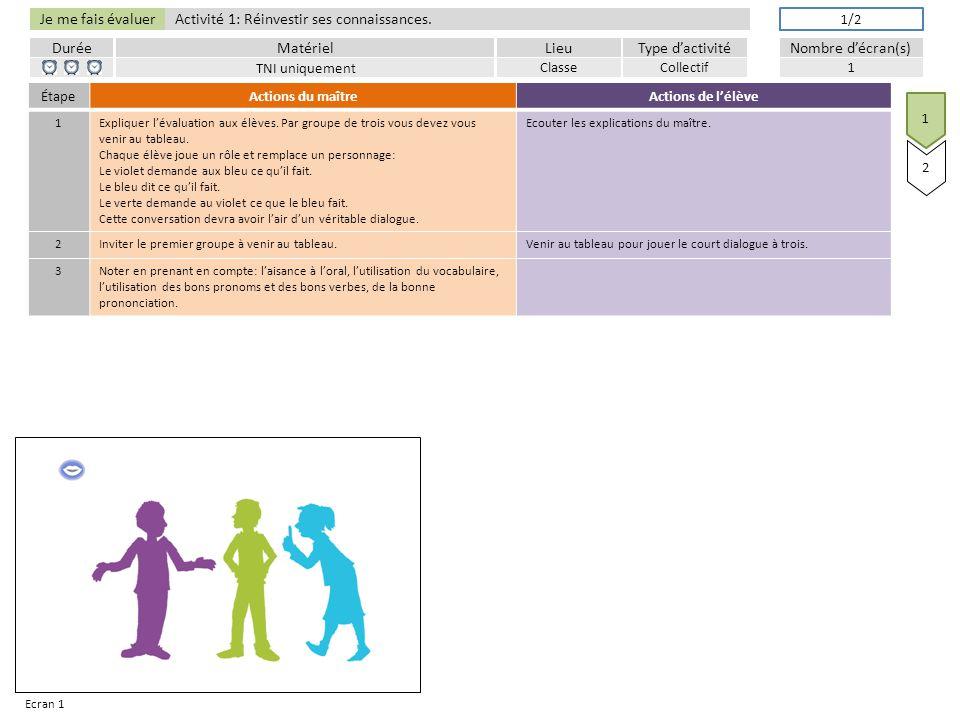 Je me fais évaluer DuréeLieuType d'activitéMatérielNombre d'écran(s) Activité 1: Réinvestir ses connaissances.