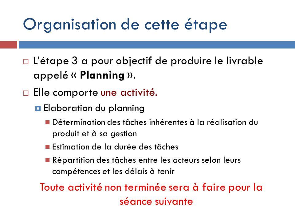Organisation de cette étape  L'étape 3 a pour objectif de produire le livrable appelé « Planning ».