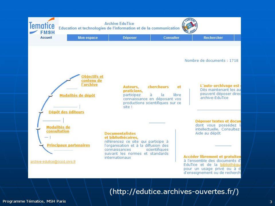 Programme Tématice, MSH Paris 3 (http://edutice.archives-ouvertes.fr/)