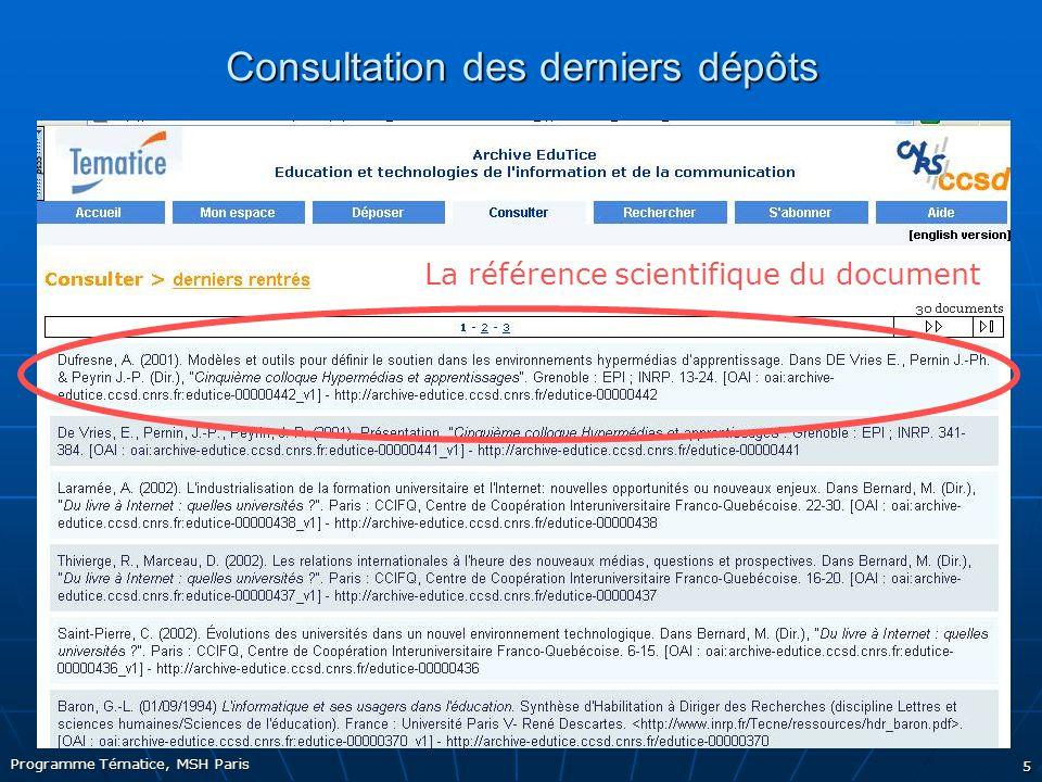 5 Consultation des derniers dépôts La référence scientifique du document