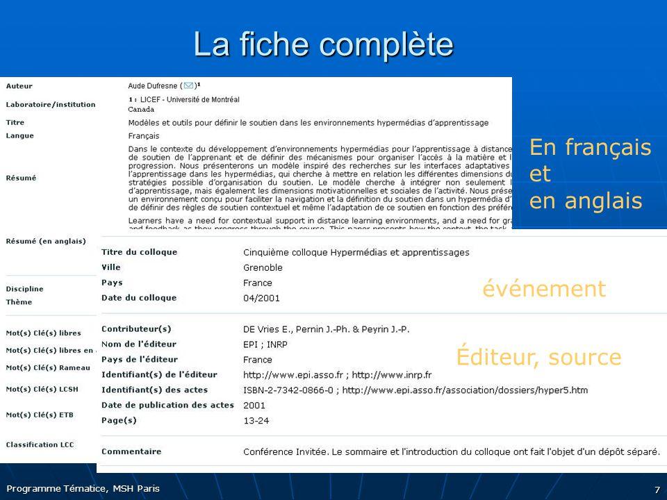 Programme Tématice, MSH Paris 7 La fiche complète En français et en anglais Classifications internationales événement Éditeur, source