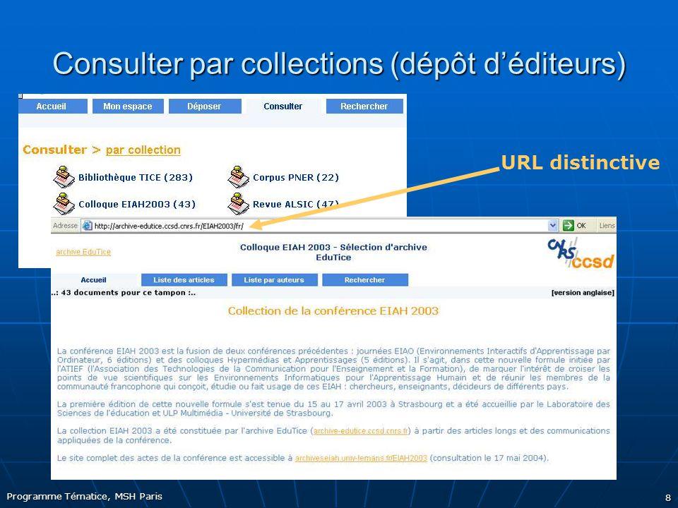 Programme Tématice, MSH Paris 8 Consulter par collections (dépôt d'éditeurs) URL distinctive