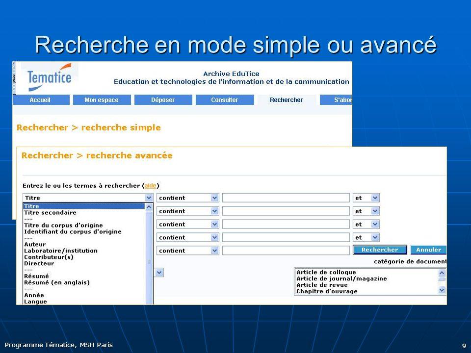 Programme Tématice, MSH Paris 9 Recherche en mode simple ou avancé