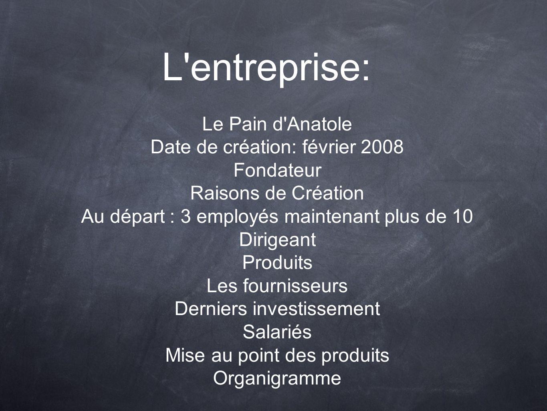 L'entreprise: Le Pain d'Anatole Date de création: février 2008 Fondateur Raisons de Création Au départ : 3 employés maintenant plus de 10 Dirigeant Pr