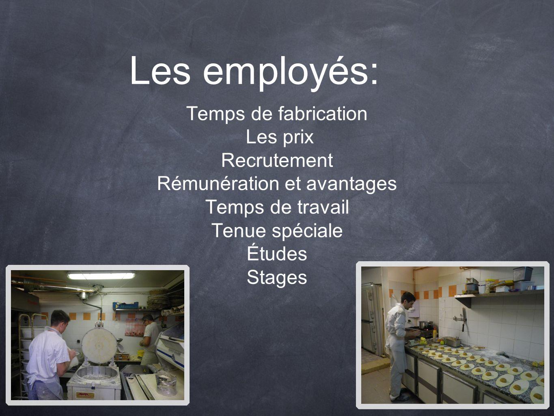 Les employés: Temps de fabrication Les prix Recrutement Rémunération et avantages Temps de travail Tenue spéciale Études Stages