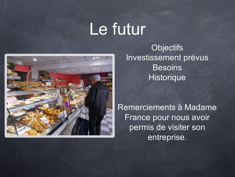 Le futur Objectifs Investissement prévus Besoins Historique Remerciements à Madame France pour nous avoir permis de visiter son entreprise.