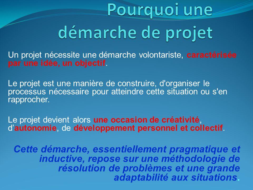 Un projet nécessite une démarche volontariste, caractérisée par une idée, un objectif.