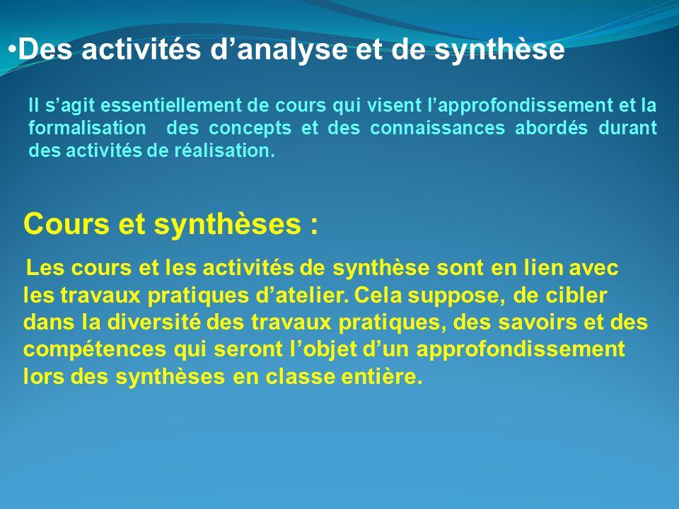 Cours et synthèses : Les cours et les activités de synthèse sont en lien avec les travaux pratiques d'atelier.