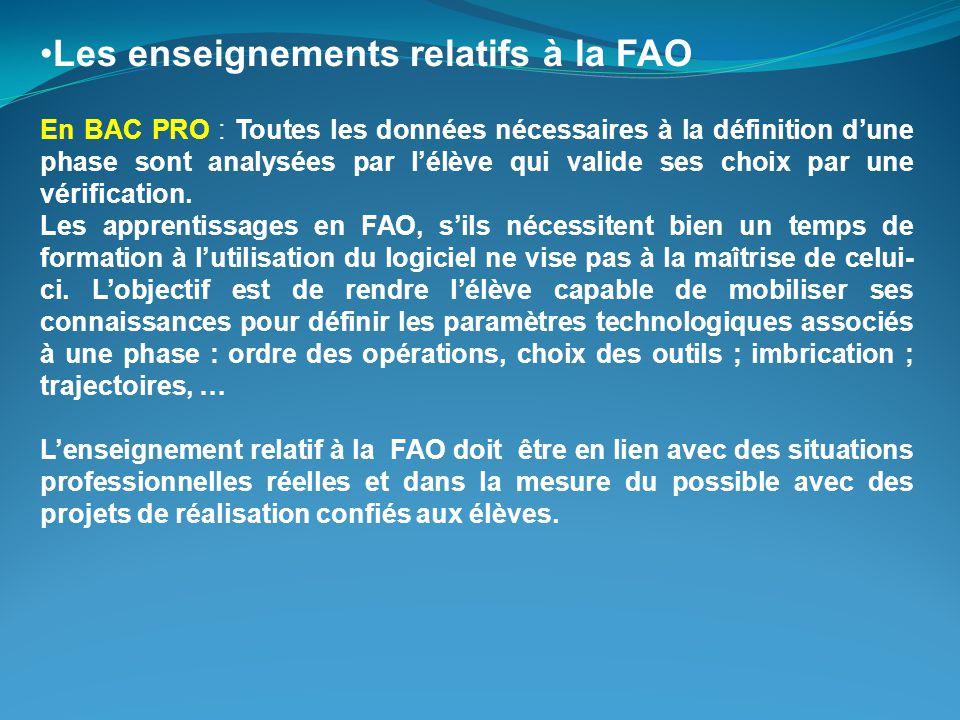 Les enseignements relatifs à la FAO En BAC PRO : Toutes les données nécessaires à la définition d'une phase sont analysées par l'élève qui valide ses choix par une vérification.