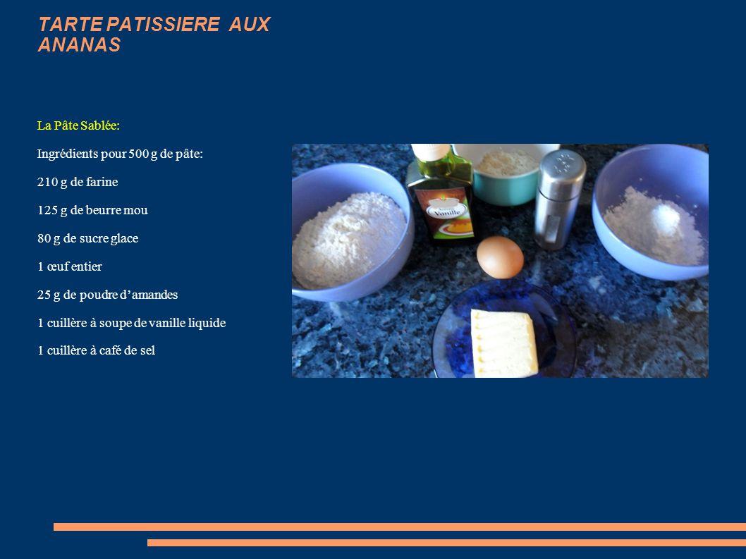 TARTE PATISSIERE AUX ANANAS Pâte sablée sucrée Voici une recette très simple et délicieuse de Tarte pâtissière aux Ananas qui sert également de base p