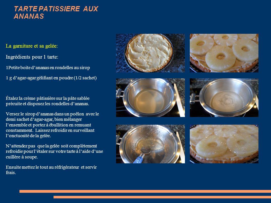 TARTE PATISSIERE AUX ANANAS La crème pâtissière: Réalisation: Dans un plat creux, mélanger le sucre, les jaunes d'œufs et les œufs entiers. Fouettez p