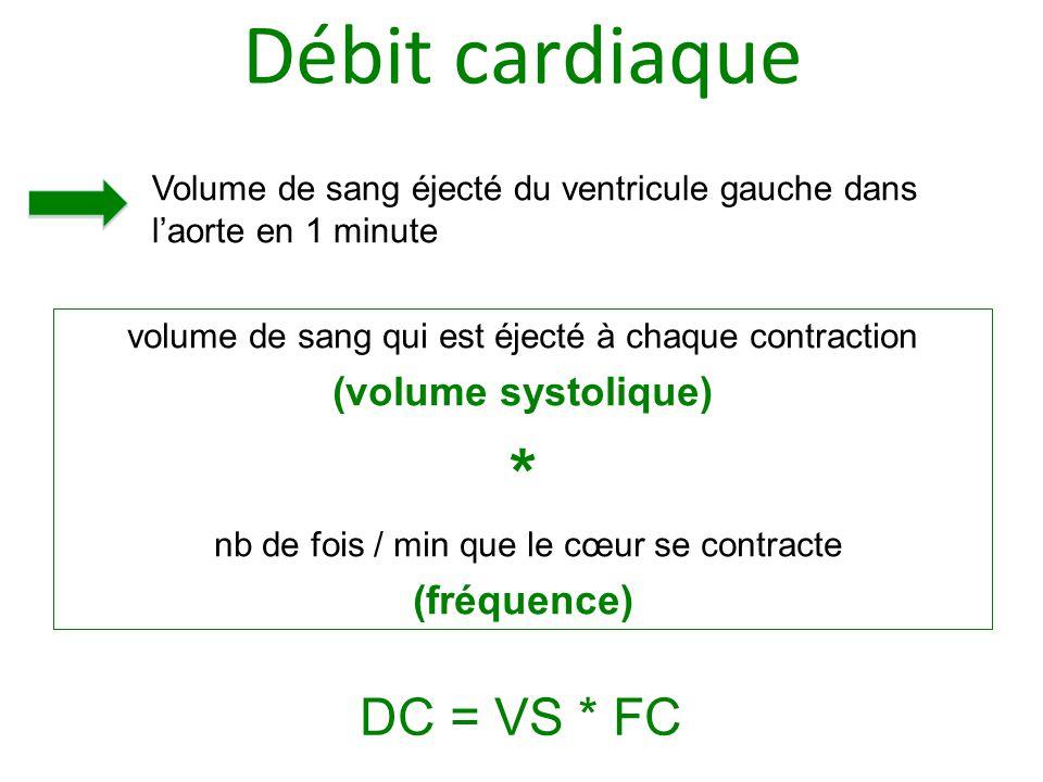 Débit cardiaque volume de sang qui est éjecté à chaque contraction (volume systolique) * nb de fois / min que le cœur se contracte (fréquence) Volume de sang éjecté du ventricule gauche dans l'aorte en 1 minute DC = VS * FC
