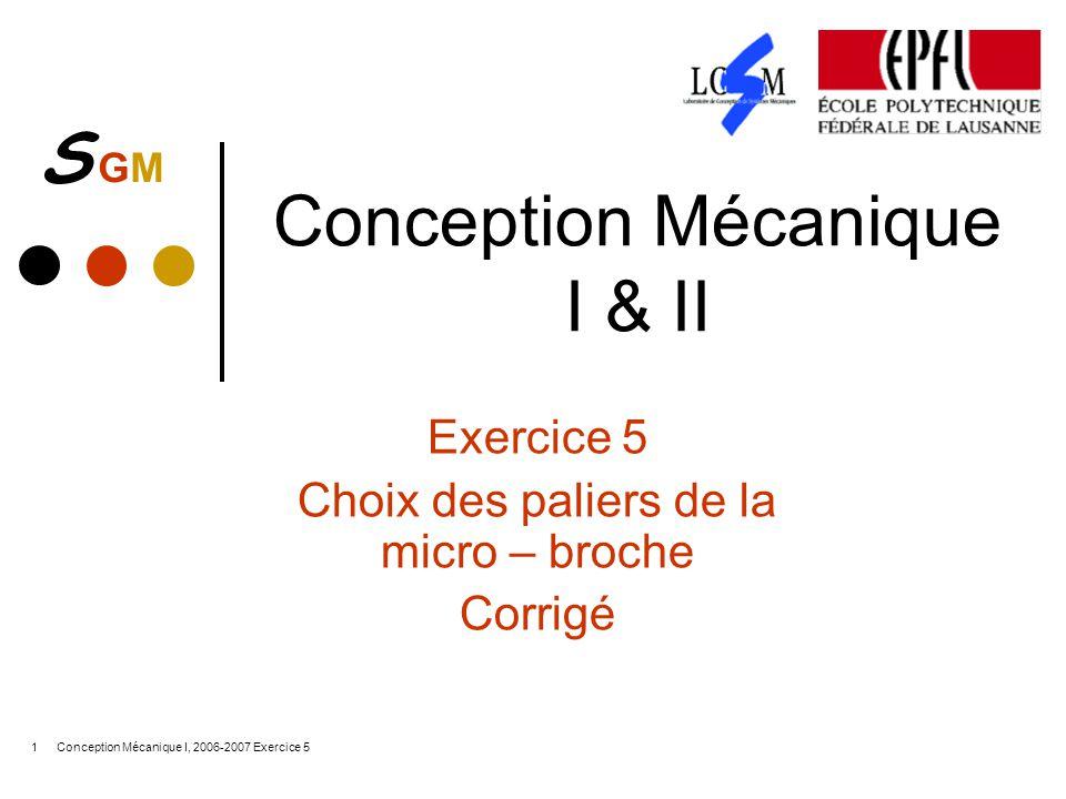 S GMS GM Conception Mécanique I, 2006-2007 Exercice 51 Conception Mécanique I & II Exercice 5 Choix des paliers de la micro – broche Corrigé
