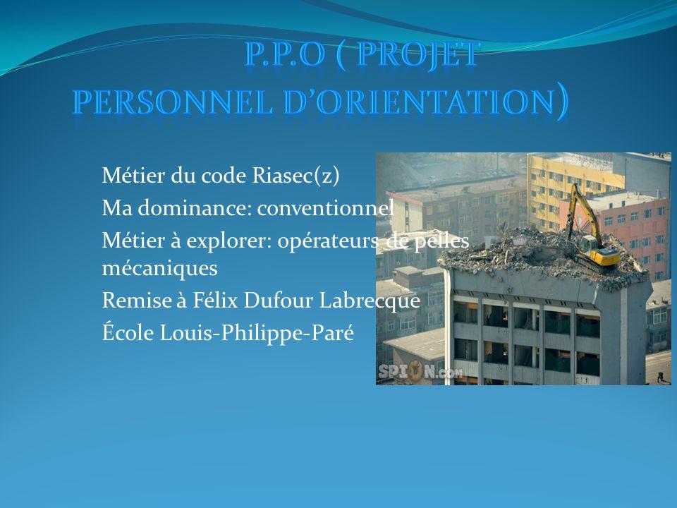 Métier du code Riasec(z) Ma dominance: conventionnel Métier à explorer: opérateurs de pelles mécaniques Remise à Félix Dufour Labrecque École Louis-Philippe-Paré