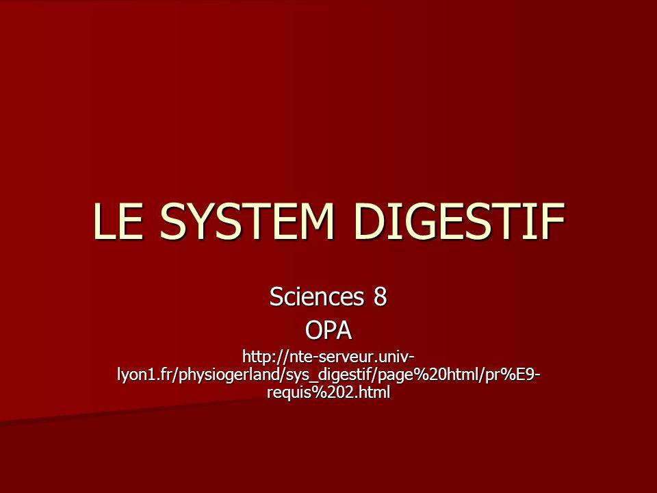 LE SYSTEM DIGESTIF Sciences 8 OPA http://nte-serveur.univ- lyon1.fr/physiogerland/sys_digestif/page%20html/pr%E9- requis%202.html