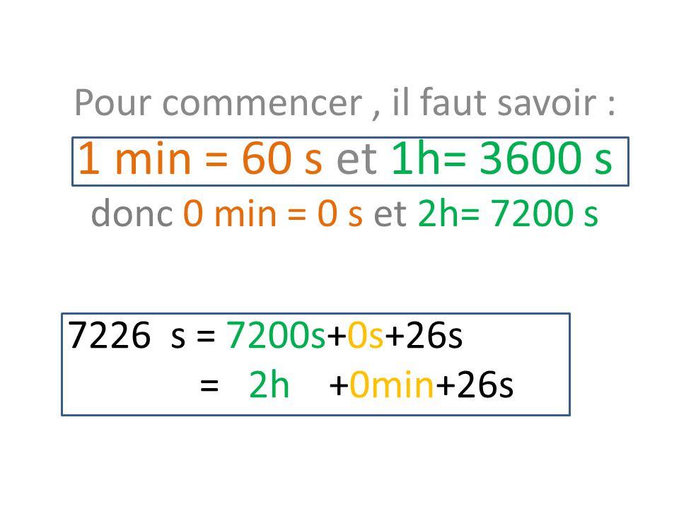 7226 s = 7200s+0s+26s = 2h +0min+26s Pour commencer, il faut savoir : 1 min = 60 s et 1h= 3600 s donc 0 min = 0 s et 2h= 7200 s