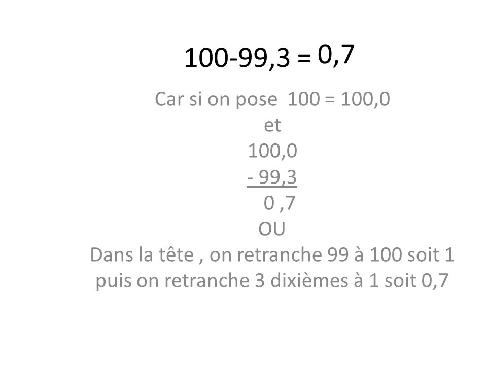 100-99,3 = Car si on pose 100 = 100,0 et 100,0 - 99,3 0,7 OU Dans la tête, on retranche 99 à 100 soit 1 puis on retranche 3 dixièmes à 1 soit 0,7 0,7