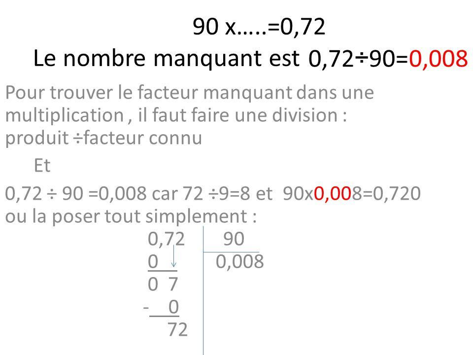 90 x…..=0,72 Le nombre manquant est Pour trouver le facteur manquant dans une multiplication, il faut faire une division : produit ÷facteur connu Et 0,72 ÷ 90 =0,008 car 72 ÷9=8 et 90x0,008=0,720 ou la poser tout simplement : 0,72 90 0 0,008 0 7 - 0 72 0,72÷90=0,008