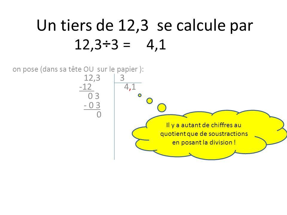 Un tiers de 12,3 se calcule par on pose (dans sa tête OU sur le papier ): 12,3 3 -12 4,1 0 3 - 0 3 0 12,3÷3 =4,1 Il y a autant de chiffres au quotient que de soustractions en posant la division !