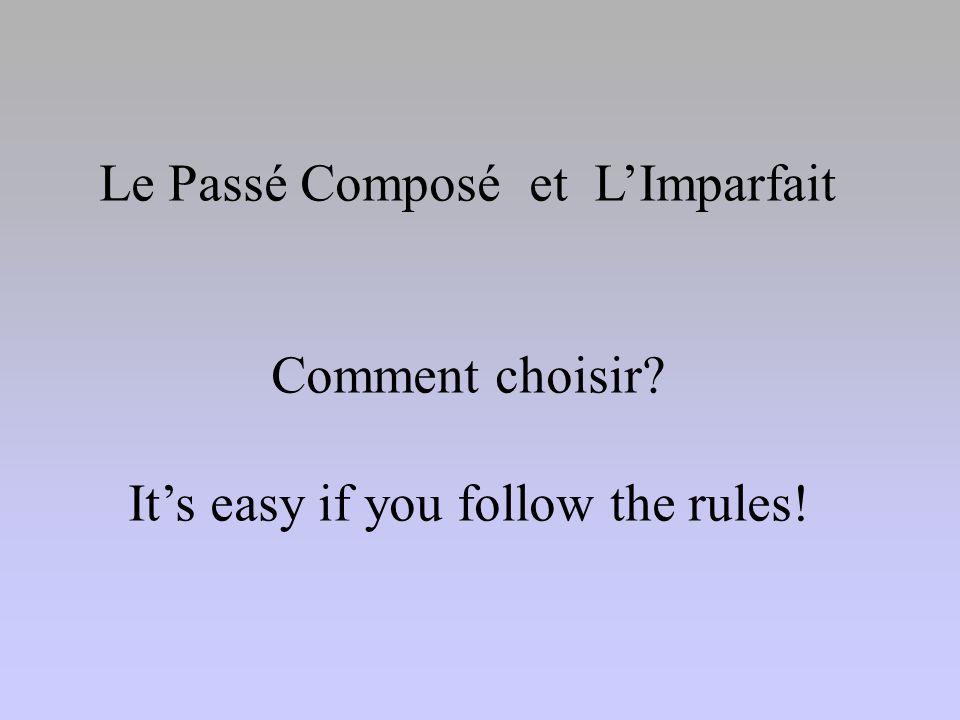 Use the Passé Composé if: The action began and ended at a specific time in the past If used with: Hier, Hier soir, Ce matin, Un jour, A huit heures, L'année dernière, vendredi dernier, etc.