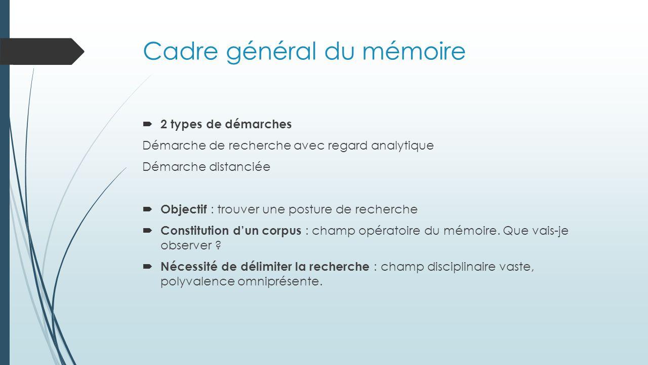 Cadre général du mémoire  2 types de démarches Démarche de recherche avec regard analytique Démarche distanciée  Objectif : trouver une posture de recherche  Constitution d'un corpus : champ opératoire du mémoire.