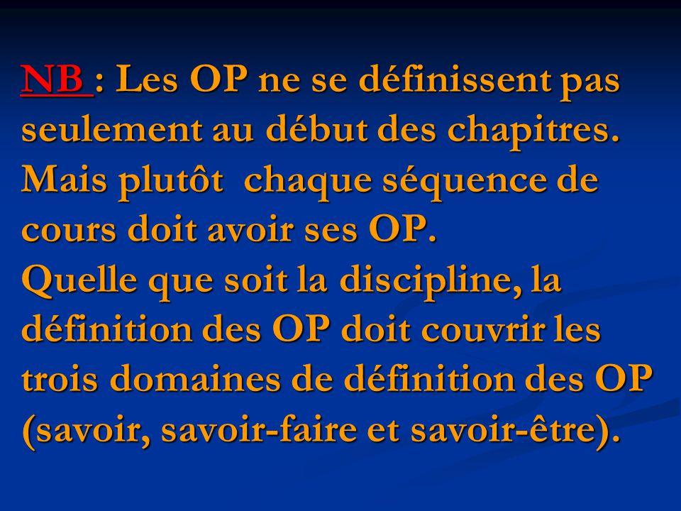 NB : Les OP ne se définissent pas seulement au début des chapitres.