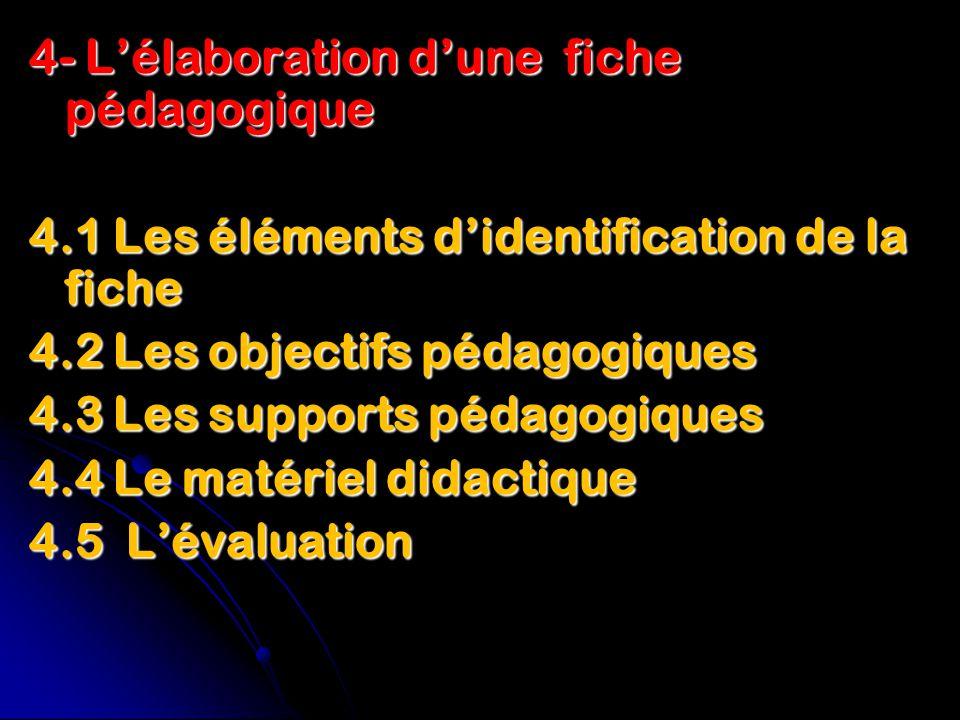 4- L'élaboration d'une fiche pédagogique 4.1 Les éléments d'identification de la fiche 4.2 Les objectifs pédagogiques 4.3 Les supports pédagogiques 4.4 Le matériel didactique 4.5 L'évaluation
