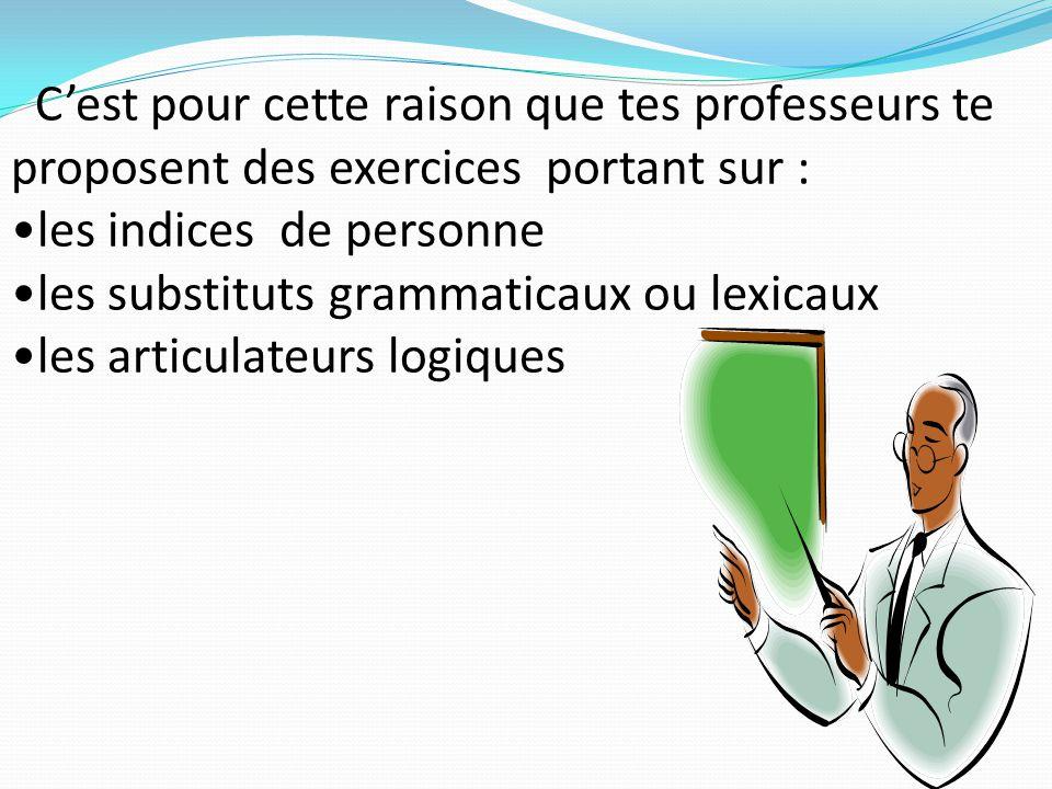 C'est pour cette raison que tes professeurs te proposent des exercices portant sur : les indices de personne les substituts grammaticaux ou lexicaux l