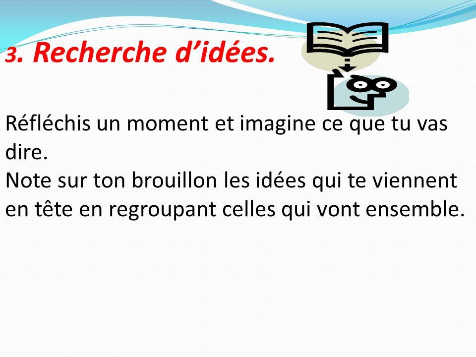 3. Recherche d'idées. Réfléchis un moment et imagine ce que tu vas dire. Note sur ton brouillon les idées qui te viennent en tête en regroupant celles