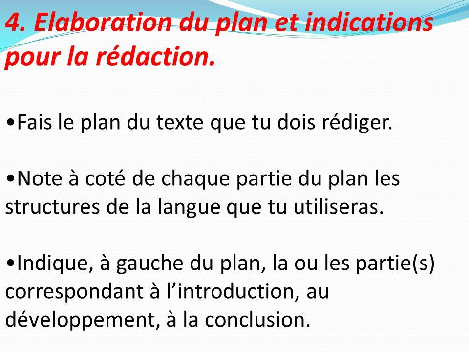 4. Elaboration du plan et indications pour la rédaction. Fais le plan du texte que tu dois rédiger. Note à coté de chaque partie du plan les structure