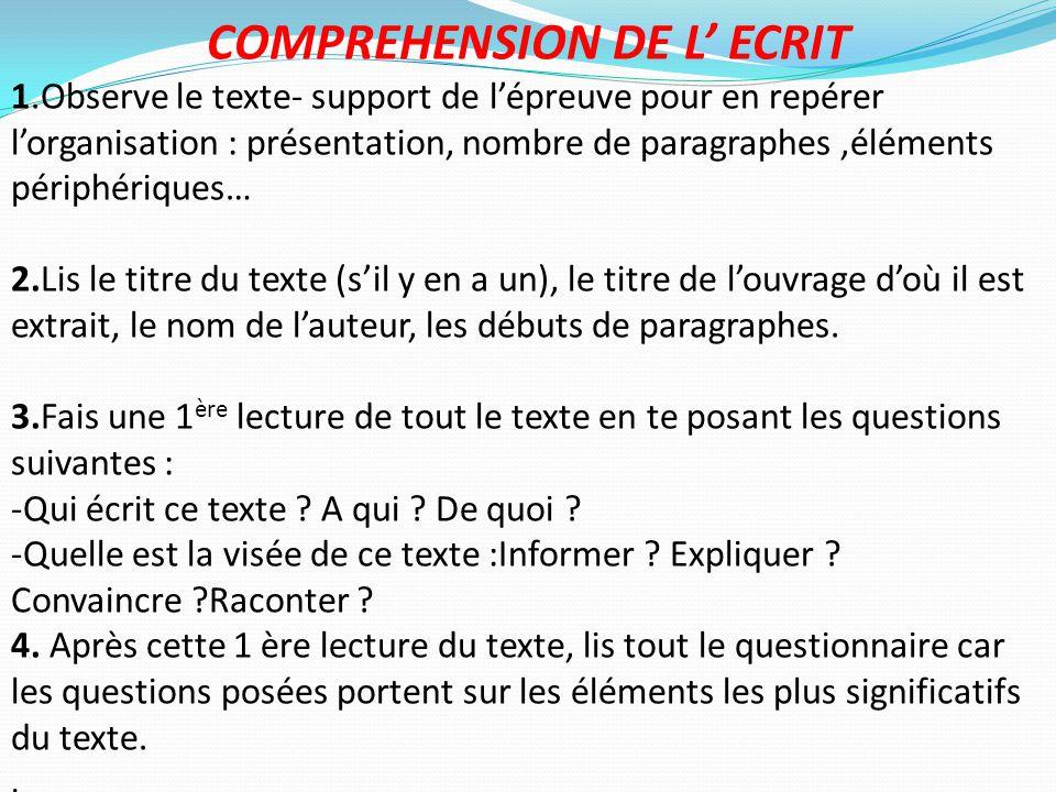 COMPREHENSION DE L' ECRIT 1.Observe le texte- support de l'épreuve pour en repérer l'organisation : présentation, nombre de paragraphes,éléments périp