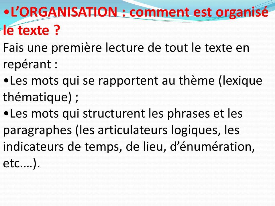 L'ORGANISATION : comment est organisé le texte ? Fais une première lecture de tout le texte en repérant : Les mots qui se rapportent au thème (lexique