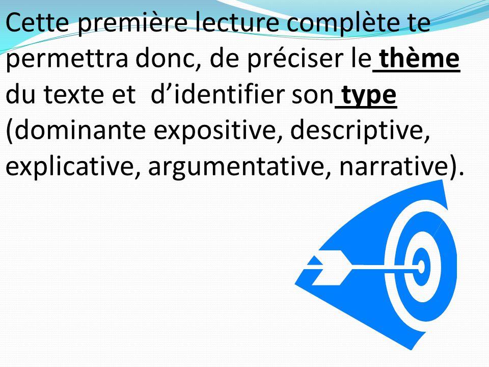 Cette première lecture complète te permettra donc, de préciser le thème du texte et d'identifier son type (dominante expositive, descriptive, explicat