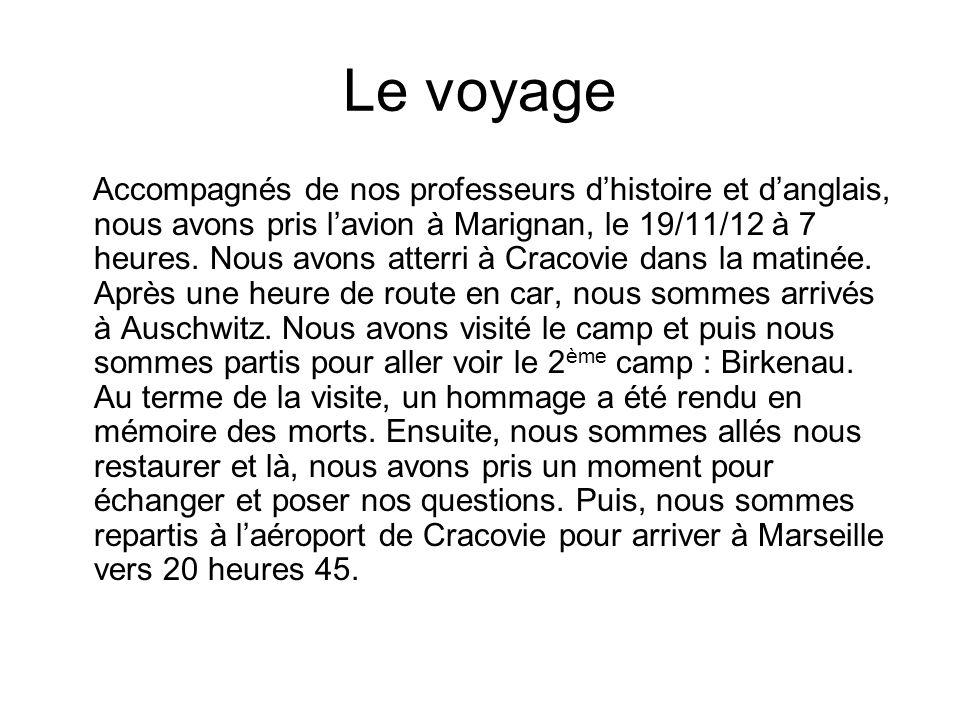 Le voyage Accompagnés de nos professeurs d'histoire et d'anglais, nous avons pris l'avion à Marignan, le 19/11/12 à 7 heures.
