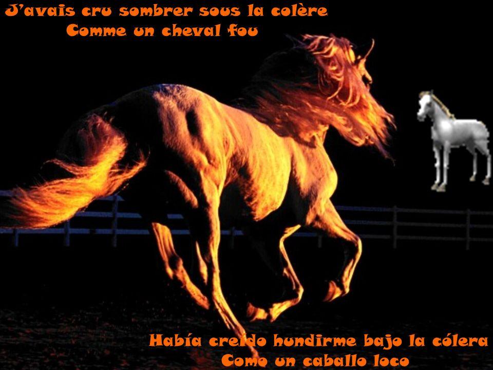 Había creído hundirme bajo la cólera Como un caballo loco Javais cru sombrer sous la colère Comme un cheval fou