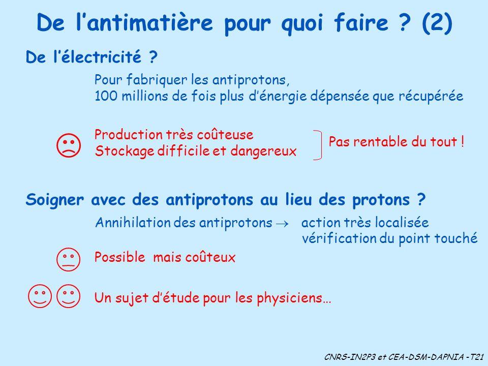 De lantimatière pour quoi faire ? (2) De lélectricité ? Pour fabriquer les antiprotons, 100 millions de fois plus dénergie dépensée que récupérée Prod