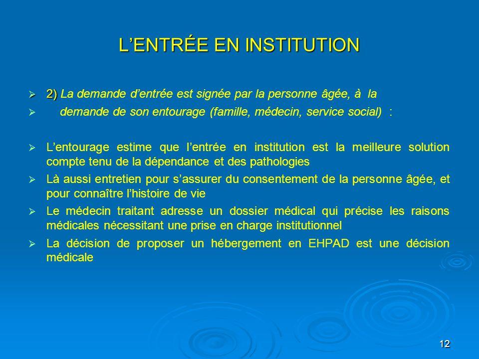 12 LENTRÉE EN INSTITUTION 2) 2) La demande dentrée est signée par la personne âgée, à la demande de son entourage (famille, médecin, service social) :