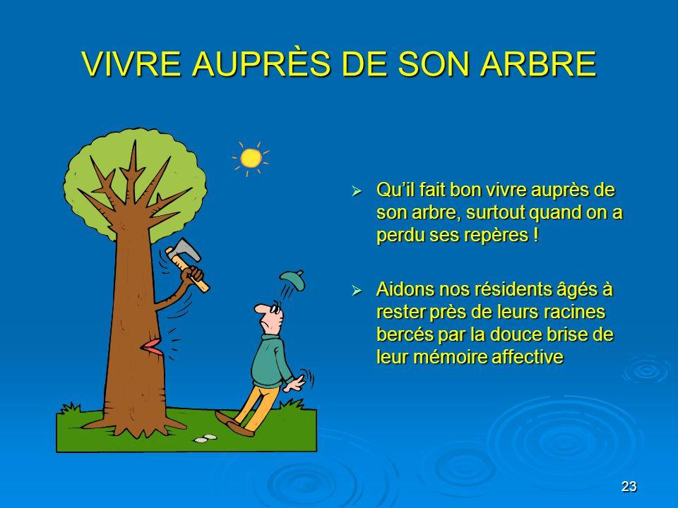 23 VIVRE AUPRÈS DE SON ARBRE Quil fait bon vivre auprès de son arbre, surtout quand on a perdu ses repères ! Quil fait bon vivre auprès de son arbre,