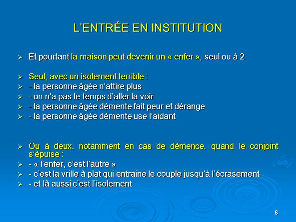 8 LENTRÉE EN INSTITUTION Et pourtant la maison peut devenir un « enfer », seul ou à 2 Et pourtant la maison peut devenir un « enfer », seul ou à 2 Seu