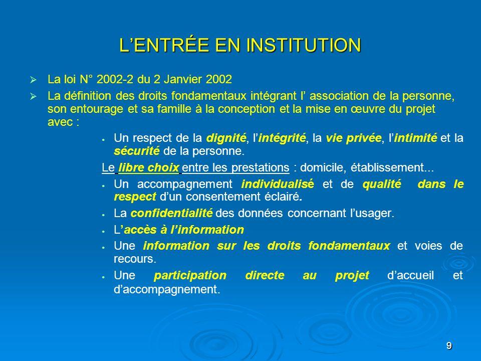 9 LENTRÉE EN INSTITUTION La loi N° 2002-2 du 2 Janvier 2002 La définition des droits fondamentaux intégrant l association de la personne, son entourag