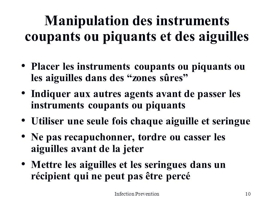 10Infection Prevention Manipulation des instruments coupants ou piquants et des aiguilles Placer les instruments coupants ou piquants ou les aiguilles