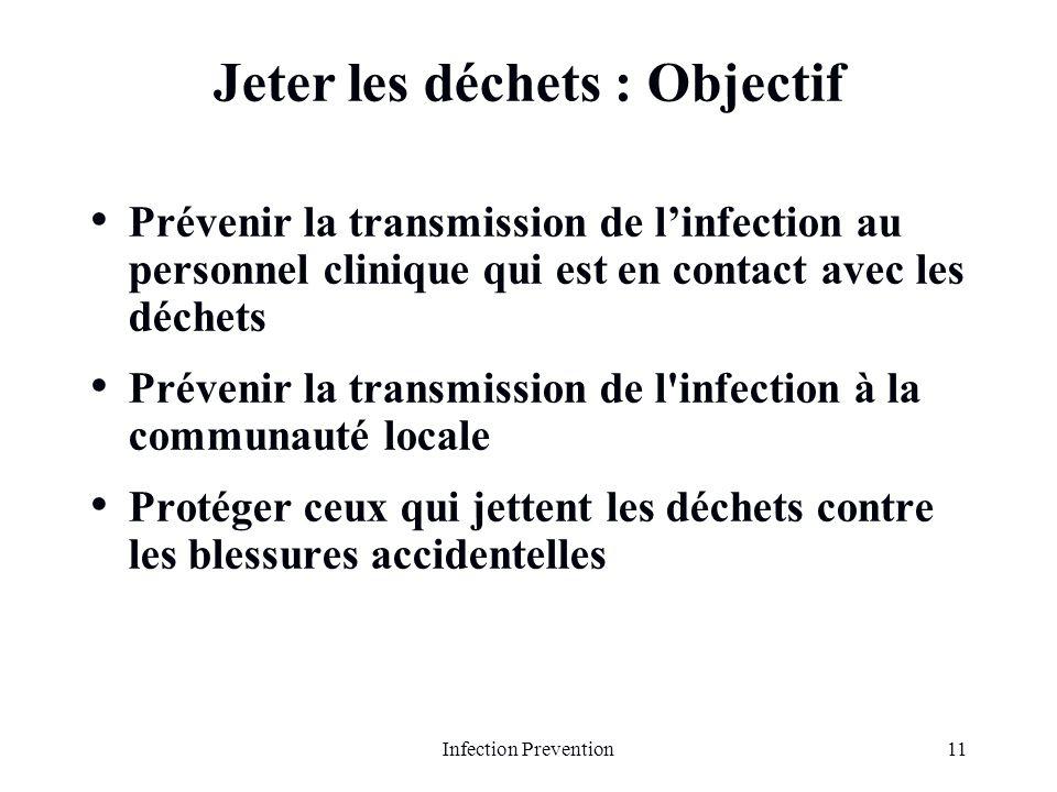 11Infection Prevention Jeter les déchets : Objectif Prévenir la transmission de linfection au personnel clinique qui est en contact avec les déchets P