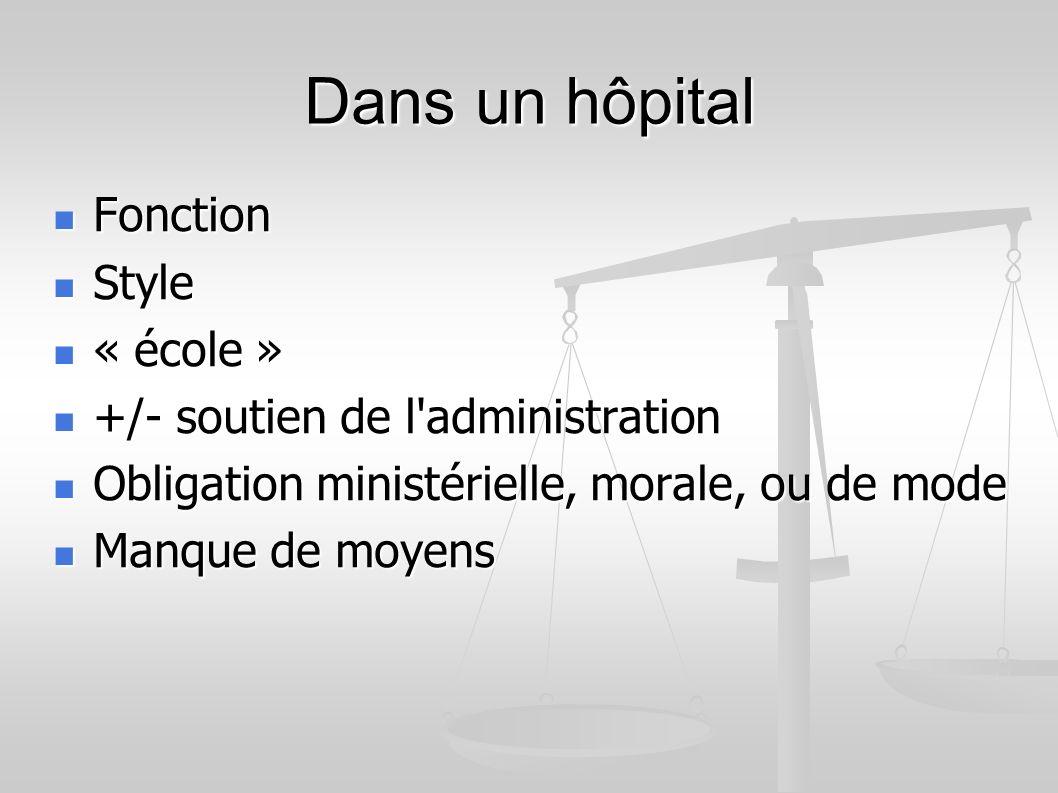 Dans un hôpital Fonction Fonction Style Style « école » « école » +/- soutien de l administration +/- soutien de l administration Obligation ministérielle, morale, ou de mode Obligation ministérielle, morale, ou de mode Manque de moyens Manque de moyens