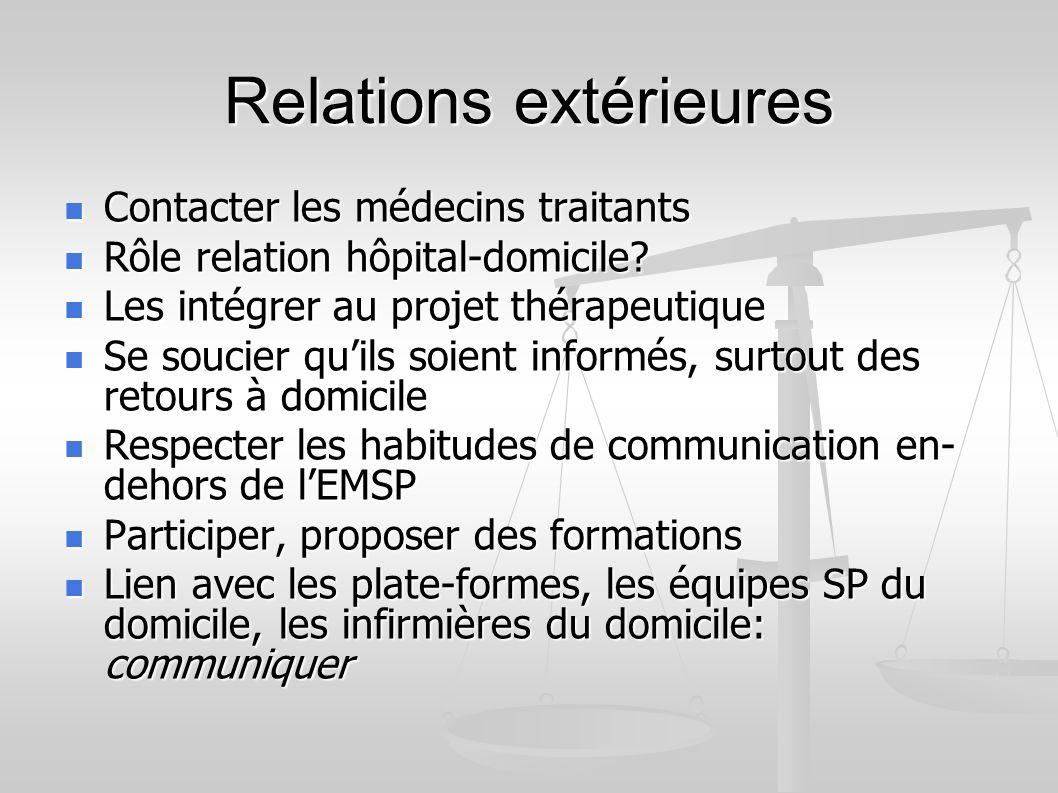 Relations extérieures Contacter les médecins traitants Contacter les médecins traitants Rôle relation hôpital-domicile.