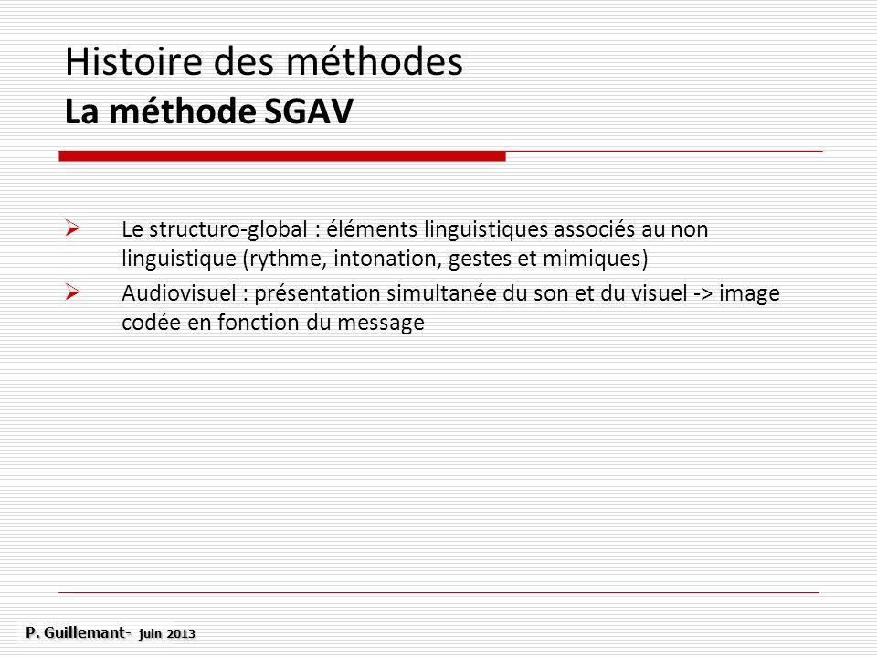 Histoire des méthodes La méthode SGAV Le structuro-global : éléments linguistiques associés au non linguistique (rythme, intonation, gestes et mimique