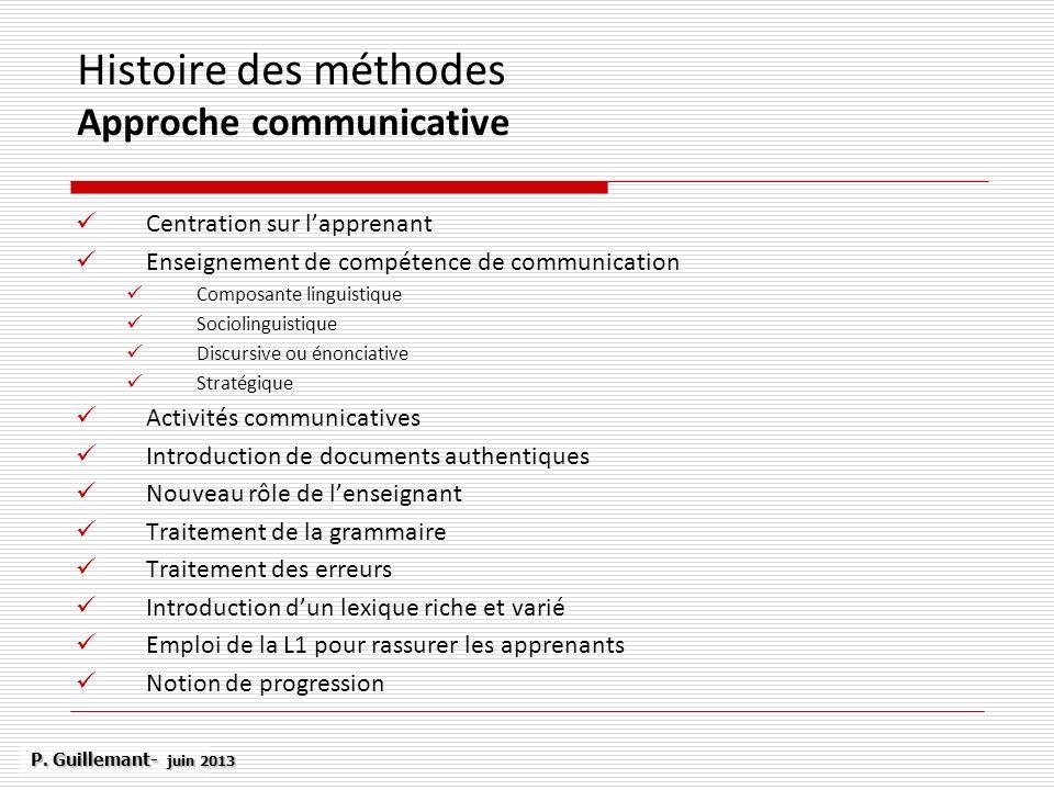 Histoire des méthodes Approche communicative Centration sur lapprenant Enseignement de compétence de communication Composante linguistique Sociolingui