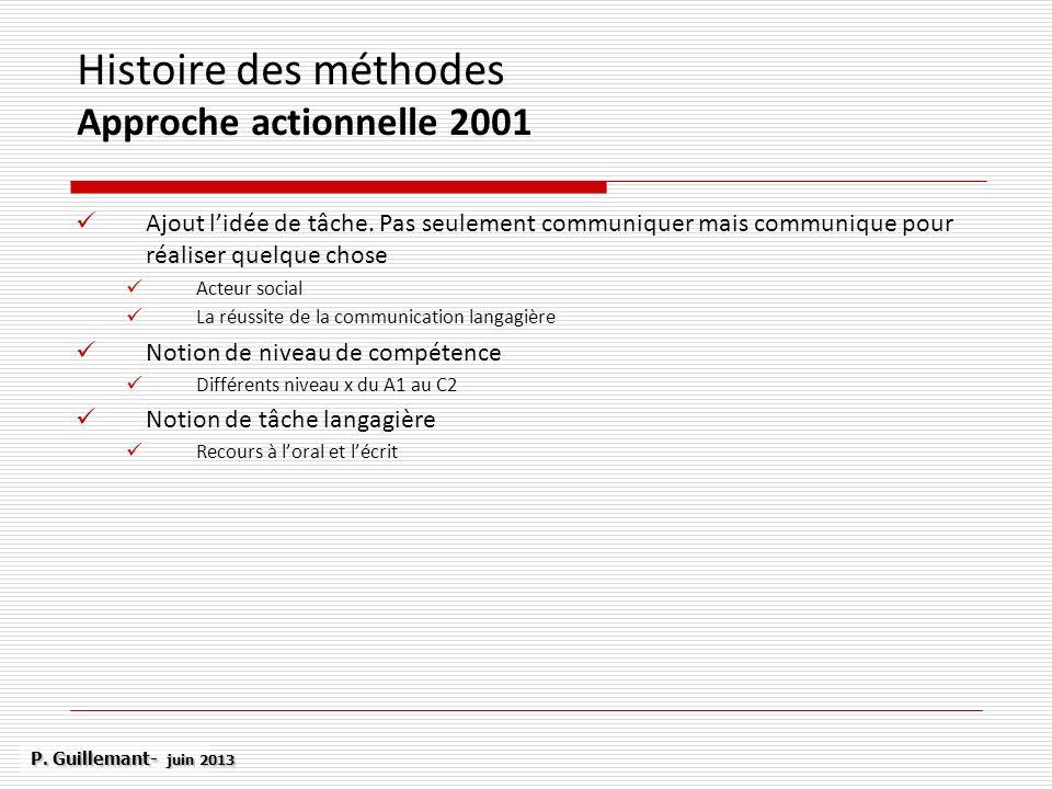 Histoire des méthodes Approche actionnelle 2001 Ajout lidée de tâche. Pas seulement communiquer mais communique pour réaliser quelque chose Acteur soc