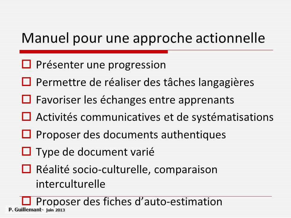 Manuel pour une approche actionnelle Présenter une progression Permettre de réaliser des tâches langagières Favoriser les échanges entre apprenants Ac